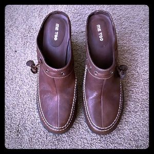 Me Too women's brown leather wedge mules size 8